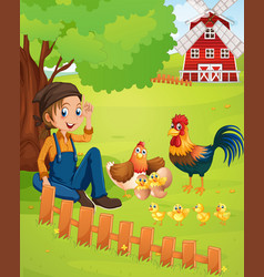 Farmer and chickens on the farm vector