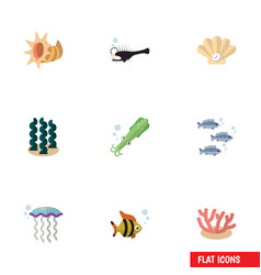 Flat icon nature set of algae seafood conch and vector