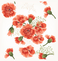 floral pattern with field red poppy vector image vector image