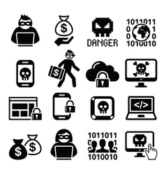 Hacker cyber attack cyber crime icons set vector