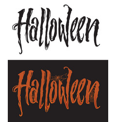 Hand drawn halloween lettering with spiderweb vector