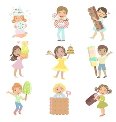 Kids with giant sweets collection vector