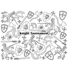 Knight Tournament colorless set vector image