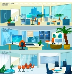 Modern office interiors banners vector