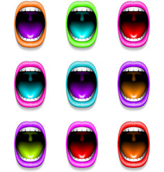 Mouth color open icon lips vector