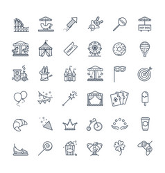 Outline set - theme amusement park icons vector