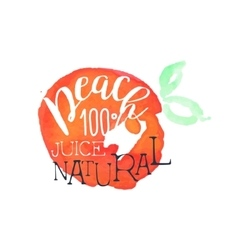 Peach 100 percent fresh juice promo sign vector
