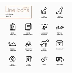 Pet Shop - Single Line Pictograms Set vector image vector image