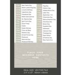 pocket calendar with holidays list vector image
