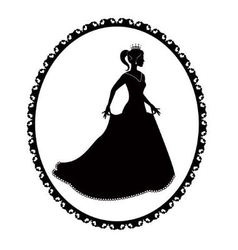 Princess silhouette in long dress and retro frame vector image vector image