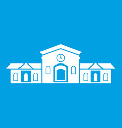 railway station building icon white vector image vector image