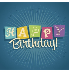 Retro happy birthday greeting card vector