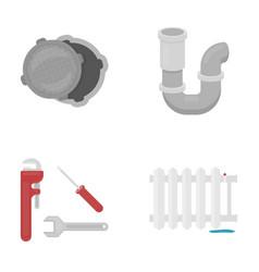 sewage hatch tool radiatorplumbing set vector image vector image