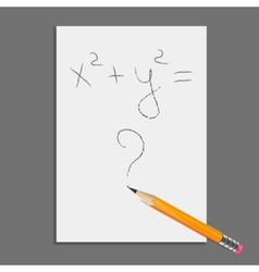 Sheet of paper with pencil and equation vector