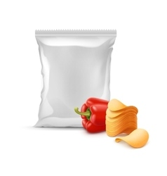 Stack of Potato Chips with Paprika and Sealed Bag vector image