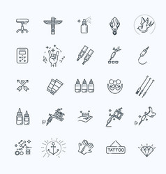Tattoo salon master icon set vector