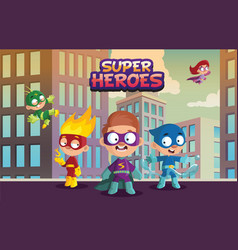 Team of super hero kids funny boys and girls vector