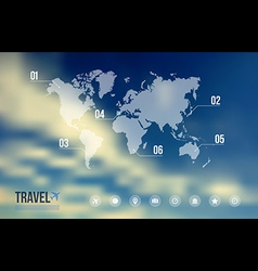Travel infographic over sky blue blurred vector image vector image