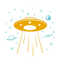 ufo icon in the starry sky vector image vector image