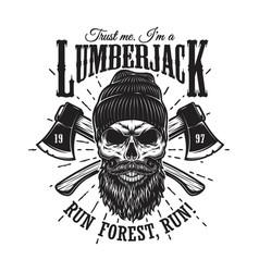 Vintage hipster lumberjack emblem vector
