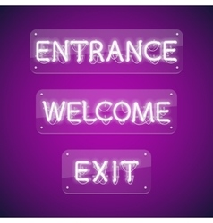 White glowing neon entrance signs vector