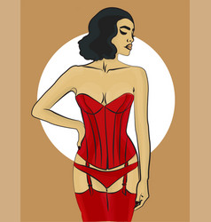Woman with dark hair in red underwear and in a vector