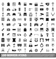 100 mirror icons set simple style vector