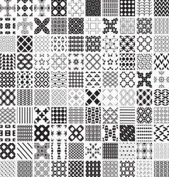 100 seamless set geometric patterns monochrome vector image