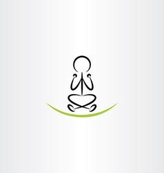 man meditating yoga icon vector image