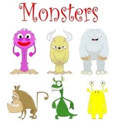 Set of fun cartoon monster creations vector