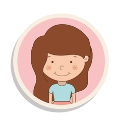 Round frame with girl of brown hair and t-shirt vector
