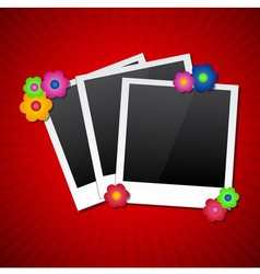 Photo frames with colored flowers vector