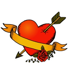 Classic tattoo style heart vector image