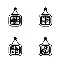 Qr code on price label icon vector
