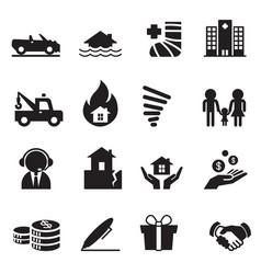 Insurance icons symbol set 2 vector