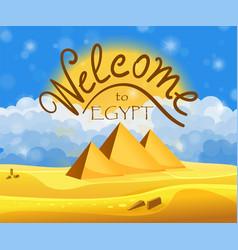 cartoon welcome to egypt concept egyptian vector image