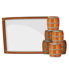 board template with barrels on side vector image