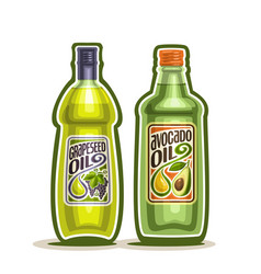 bottles with grapeseed and avocado oil vector image
