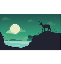 landscape deer on the hill of silhouettes vector image