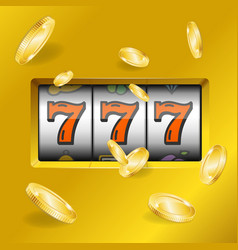 Realistic slot machine with gold coins vector