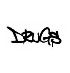 Graffiti sprayed drugs word in black over white vector