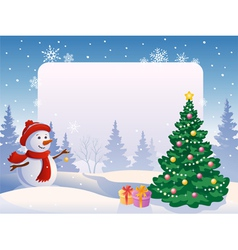 Snowman with a blank placard vector image