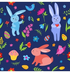 Cute Easter rabbits seamless pattern blue vector image