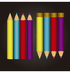 Colorfull colored pencils isolated over black back vector