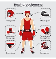 Sport equipment for boxing martial arts vector