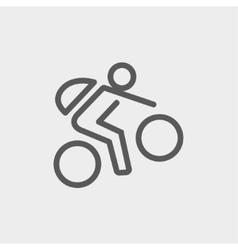 Mountain bike rider thin line icon vector image