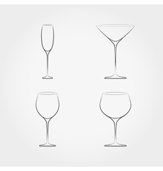 Simple set of classic stemware vector