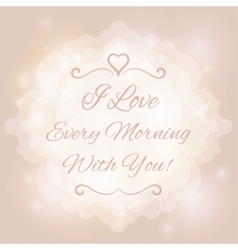 Love you text on blurred background with floral vector