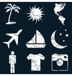 Vacation icon set white grunge vector