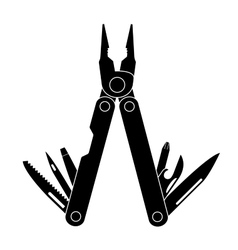 Pocket multi tool instrument black vector